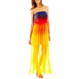 NWT Bisou Bisou Ombré Strapless Maxi Dress Sz 10